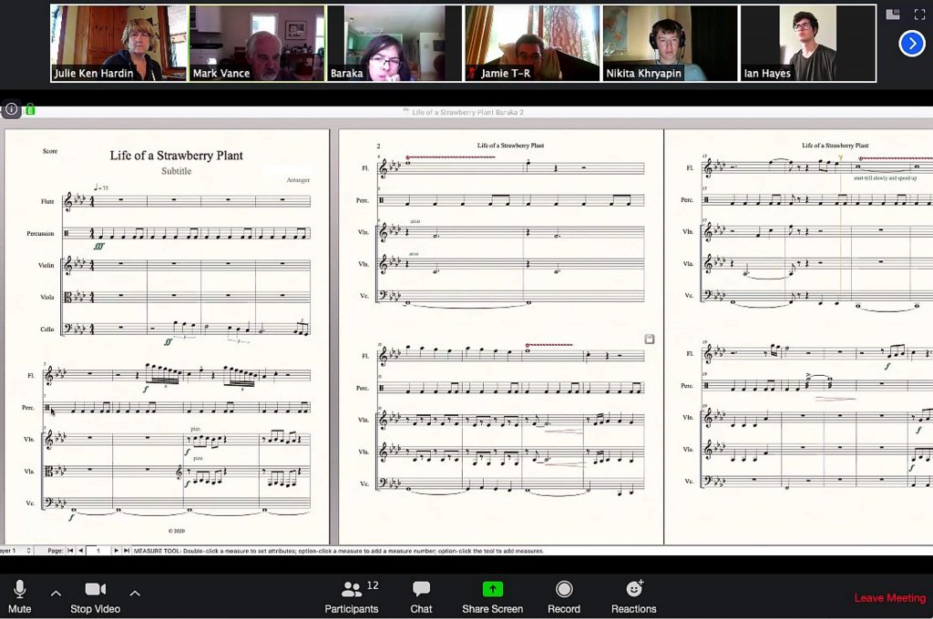Composers Project Class on Zoom talking about the music they're composing.