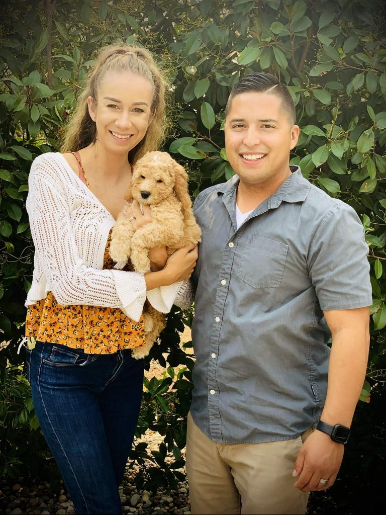 Nicole Carranza, left, of Grass Valley, who has Stage 5 Kidney Failure and needs a new kidney, appreciates support from her dog and husband Christian Carranza.