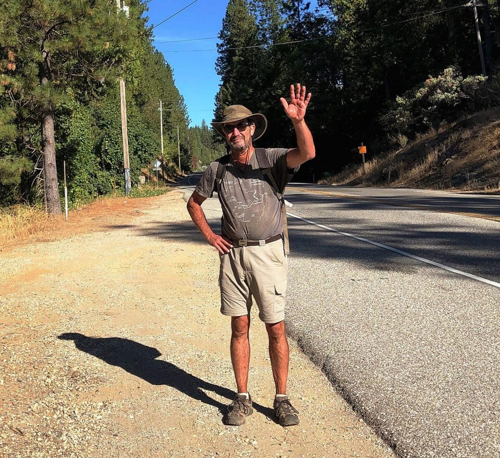 Twice each day, Kevin Cantrell walks the round-trip from his place in Alta Sierra along Dog Bar Road to the Corner Market at La Barr Meadows. Cantrell has been credited by some law enforcement officers with encouraging drivers to slow down and drive more carefully.