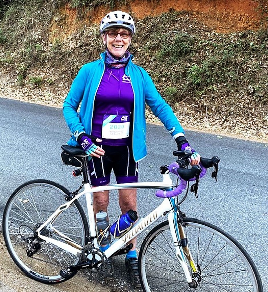 Cathy Anderson-Meyers cycled more than 25 miles during the Alzheimer's Association Ride to End ALZ, raising funds to combat the disease that claimed her husband in 2018.