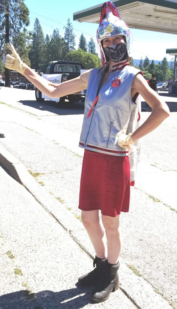 This hero does wear a cape! Lexis LaRue is the founding member, president, and driving force behind the volunteer group Nevada County Masks for COVID-19that has sewn and distributed more than 14,500 face masks since the start of the pandemic.