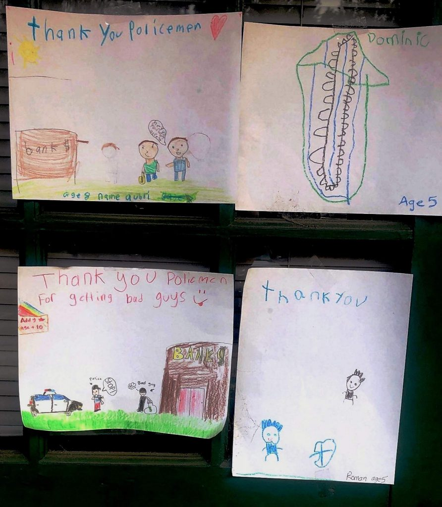 """A few youngsters wrote notes of appreciation for """"Thank a Police Officer Day"""" and the adorable drawings were posted anonymously at the Nevada County Sheriff's Office substation off Combie Road."""