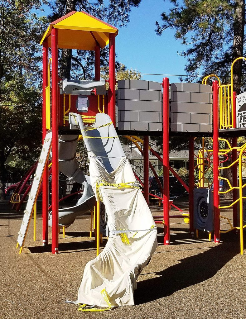 Grass Valley officials have closed the slide at Minnie Park Playground on Brighton Street near the entrance to Condon Park.