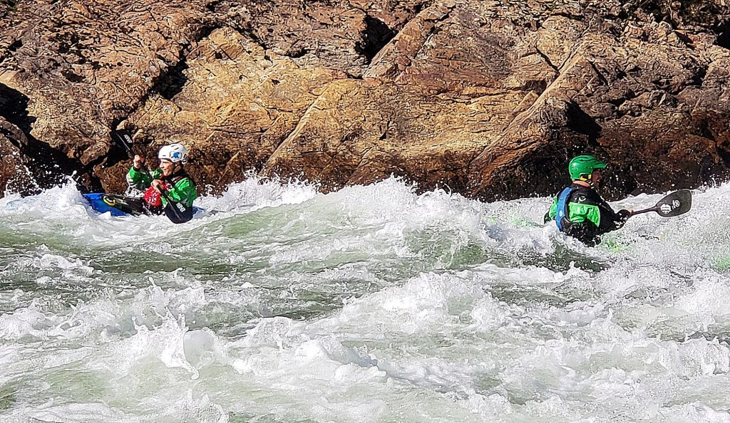 The Old Flume Trail is than a mile one way, with a stunning payoff at the halfway point. On good weather, summer days you may see kayakers floating by in the river.