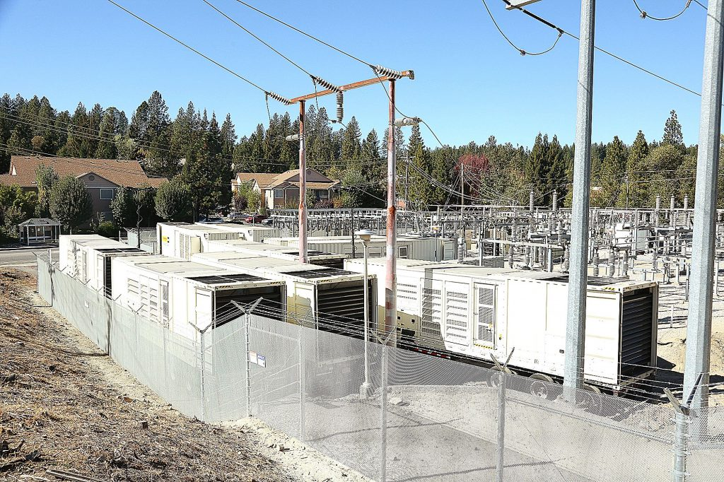 A micro-grid consisting of 10 industrial-sized generators was installed at PG&E's Brunswick Substation in Grass Valley's Glenbrook Basin earlier this year. It has since helped keep areas of Grass Valley and Nevada City, including Sierra Nevada Memorial Hospital, energized during recent power shut-offs.