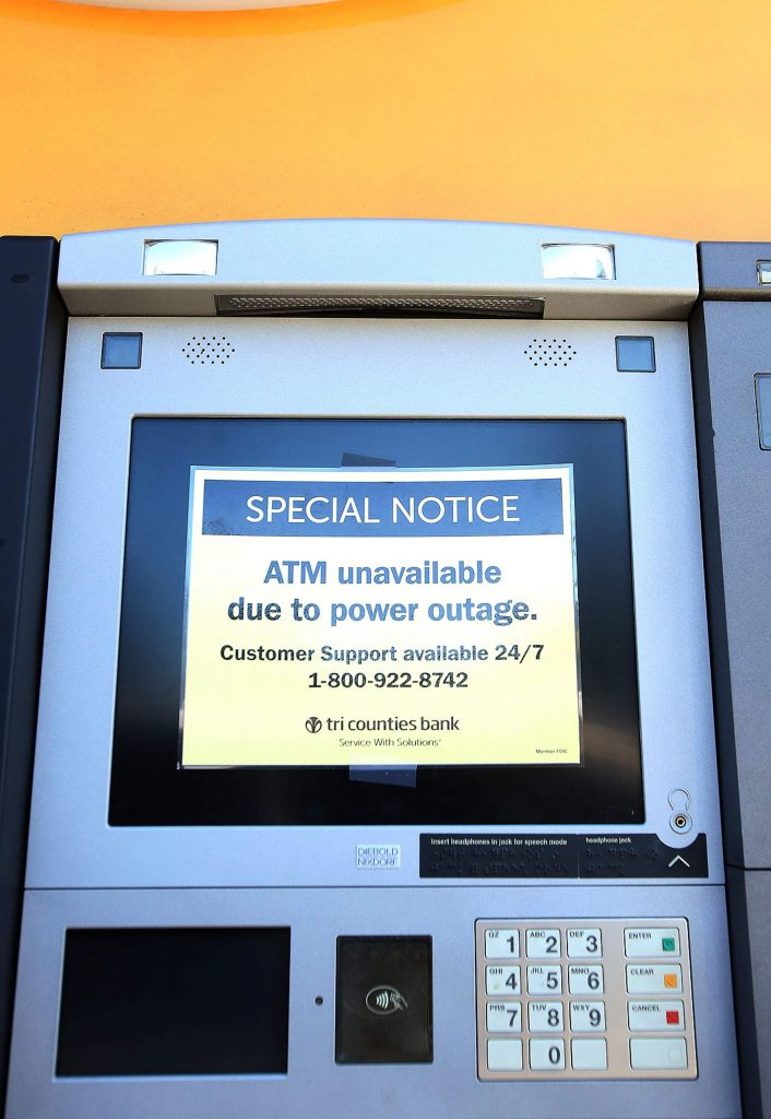 The Tri-Counties Bank and ATM were among some of the business closures in Nevada City due to the recent PG&E PSPS. However, Tri-Counties customers could still get their banking done at the Grass Valley Sutton Way branch, where power had been restored due to the micro-grid installation at the Brunswick Substation.