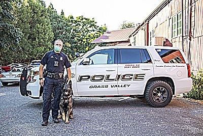 The Rüdiger Foundation held their sold out (pandemic-pivot) 2020 Paw and Order (drive-thru) Dinner at Miner's Foundry on Sept. 25. Pictured are K9 Rüdiger and Officer Jesse Cloyd of the Grass Valley Police Department.