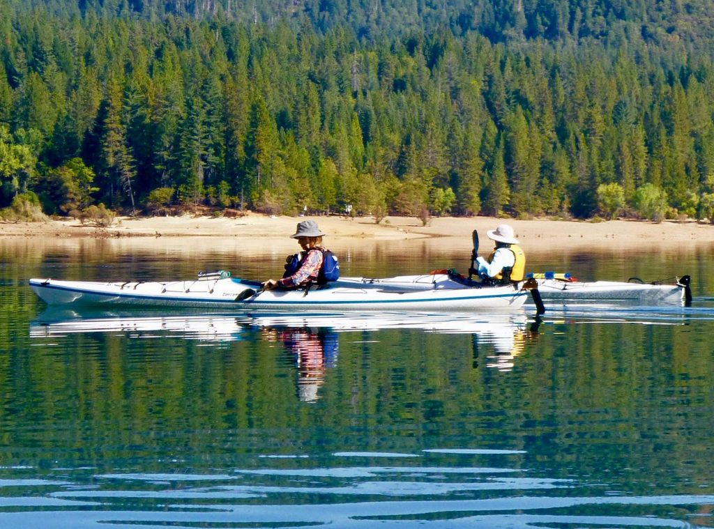 Members of the Sierra Nevada Canoe and Kayak Club paddle Scotts Flat Reservoir on a beautiful October day.