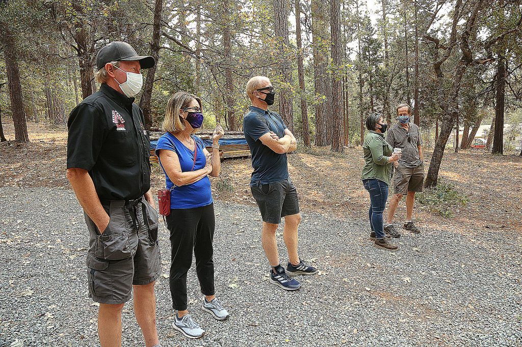 Nevada County Fire Safe Council members got an on the scene update of Phase One of the Ponderosa West Grass Valley Defense Zone Project Thursday off Squirrel Creek Road.