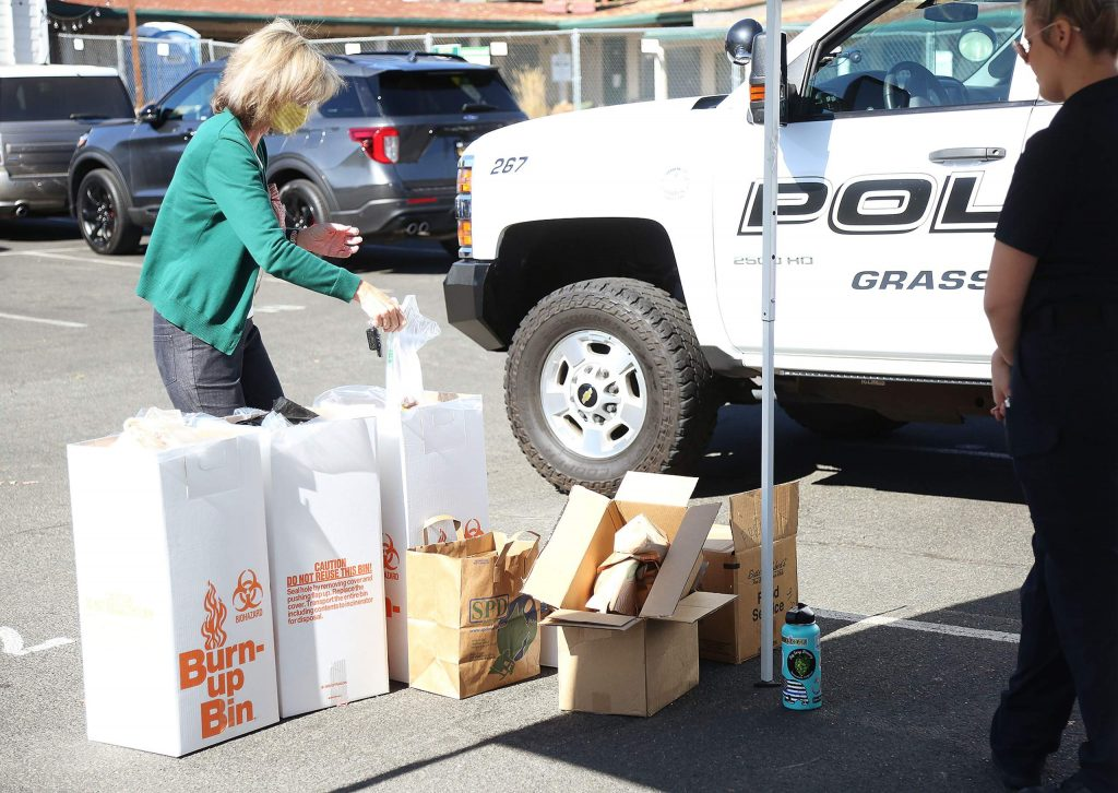 Hundreds of prescriptions were dropped off at various Nevada County locations, including the parking lot at the corner of Neal and South Auburn streets in Grass Valley, as part of National Prescription Take Back Day.