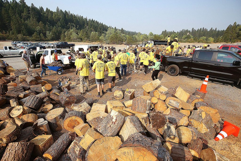 Volunteers from Bear River and Nevada Union football and wrestling teams were part of the youth volunteer force during the Random Acts of Kindness Event and Gold Country Senior Services' senior firewood distribution held on the grounds of the Rise Gold Idaho-Maryland mine property.