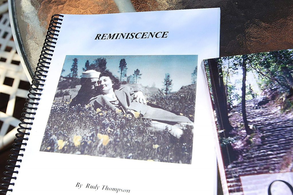 """A fourth book titled """"Reminiscence"""" depicts a cover photo of a young Rudy Thompson and his newly wed wife Carla """"Sammie"""" Thompson. A fifth book about a young boy's life on the homestead is in the works. Author Rudy Thompson turned 108 Wednesday."""