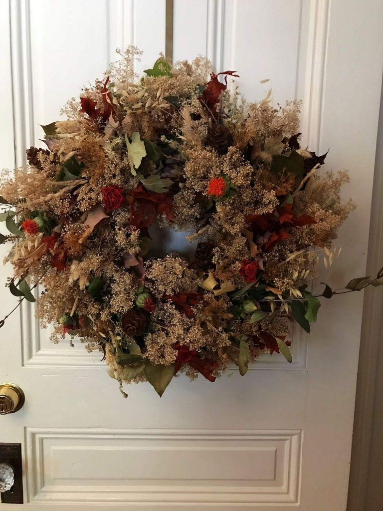 Perfect for beginners, this fun and easy wreath features dried roses, it can also cross over into the holiday season. With proper care, this wreath will last many years.