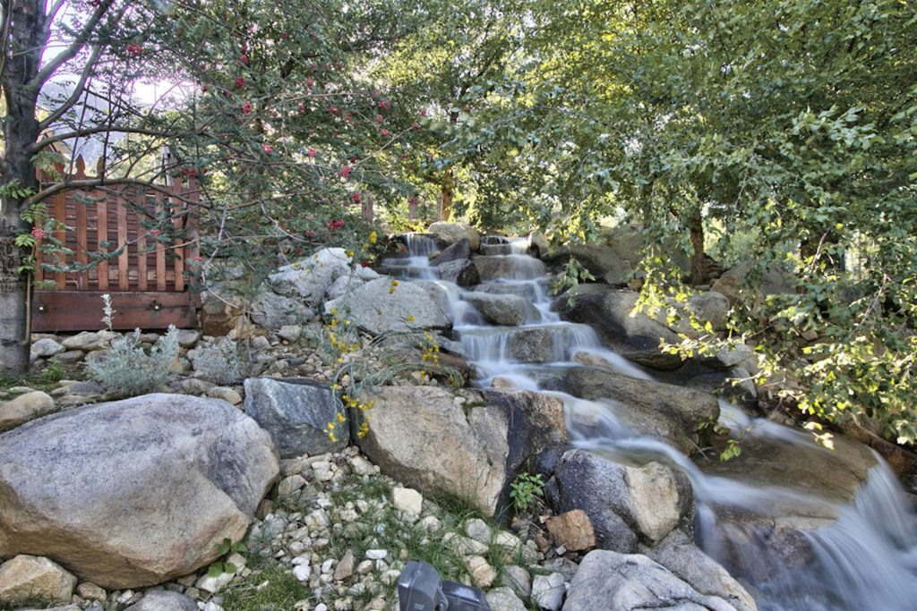 Eight waterfalls can be found across the property.