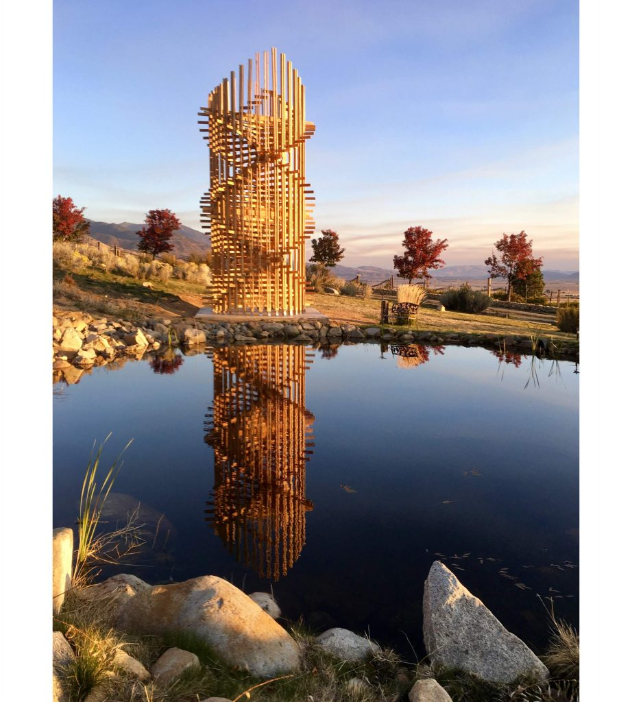 """The 30-foot tall """"Helix"""" was commissioned by Steve Hardy for the art center's sculpture park and brought to life by eco sculptor John Melvin."""