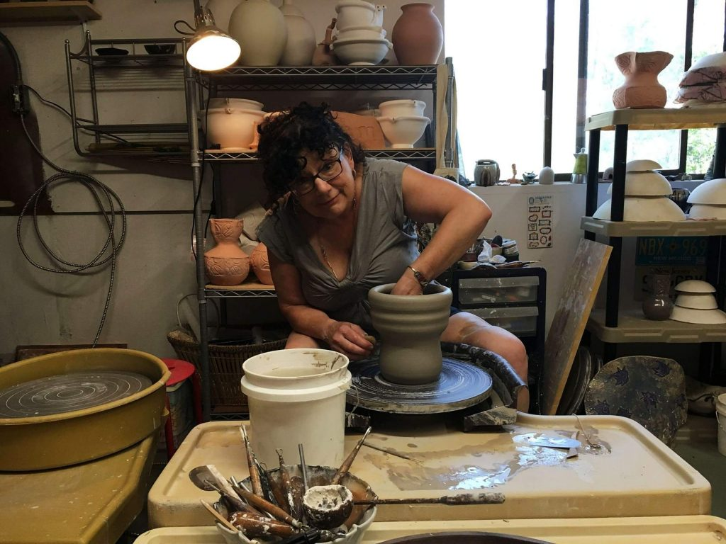 Pam Montelnbano, one of the local artists featured during the Open Studios 2020 tour, at work.