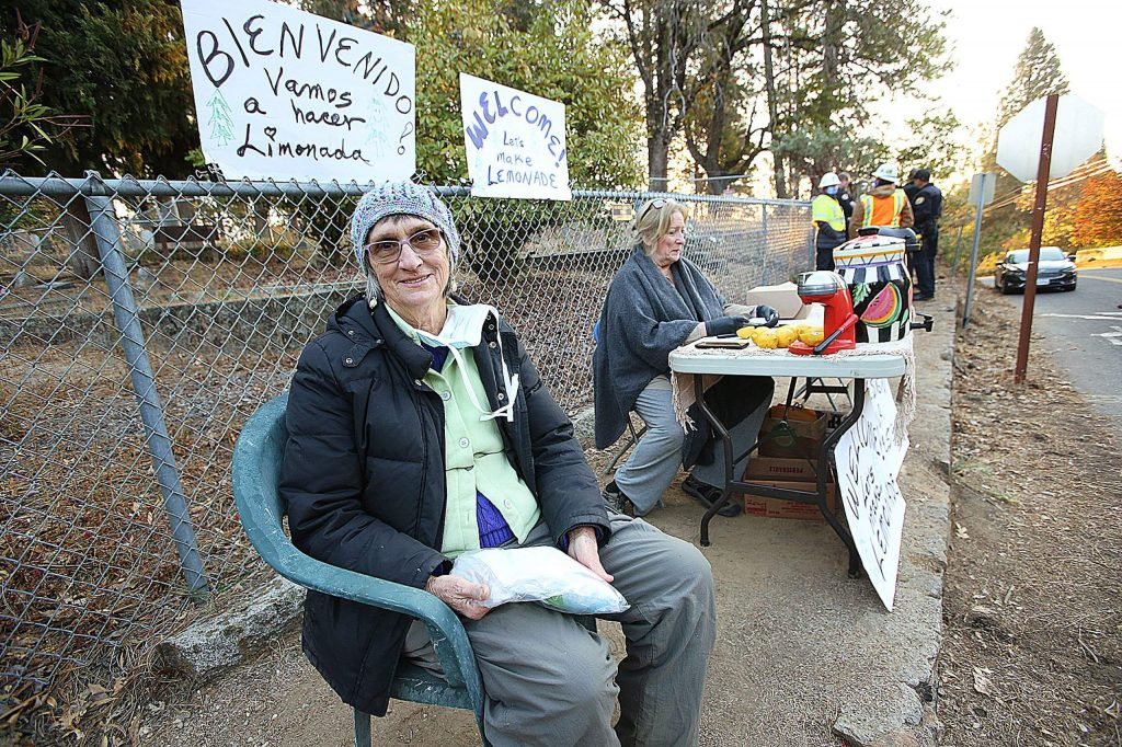 Shirley Osgood holds the belongings placed into a bag by jailers at the Nevada County Jail Friday morning after she was arrested for trespassing at Pioneer Cemetery in Nevada City as she tried to protect trees slated to be cut by PG&E.