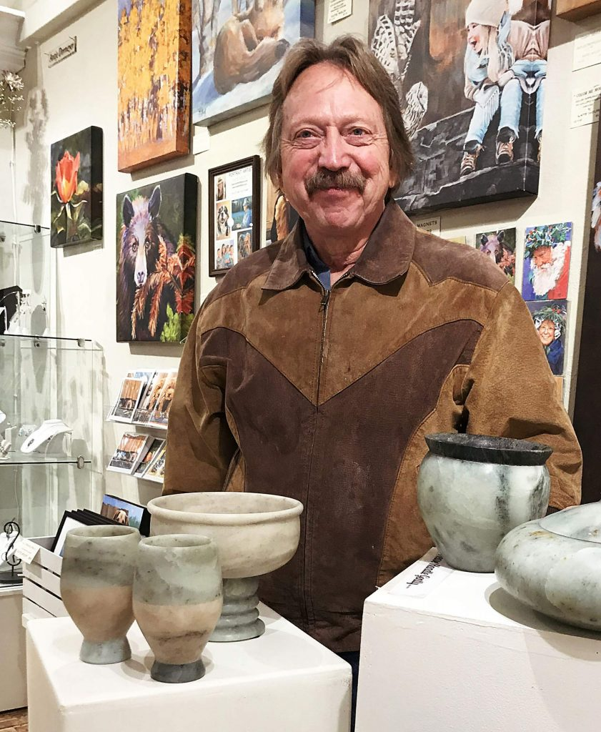 This weekend, artist Tom Haddy will be in the foyer discussing and demonstrating the modality of stone turning. The retired mail carrier will walk spectators through the process from boulder to finished product via a video showing the initial cuts, to hand on demonstration of the use the variety of tools needed to go from raw rock to polished stone.