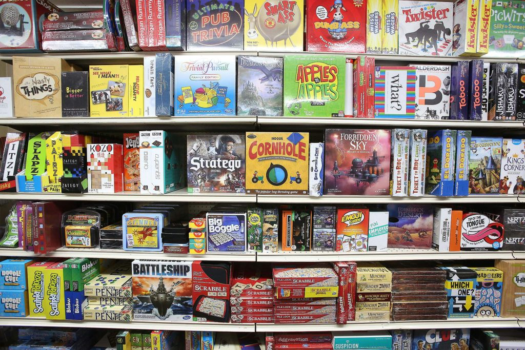 A wide selection of board games can be found along with many other classic children's toys at Foothill Mercantile in downtown Grass Valley.