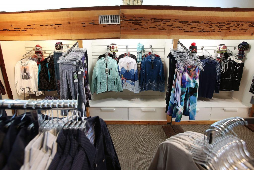 Sporting and winter apparel sit on the shelves inside of downtown Grass Valley's J. Breuer Clothing, at 141 Mill St.
