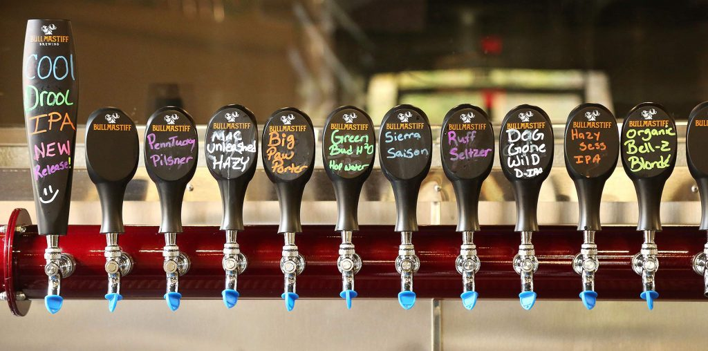 Beers like Sierra Saison, Penntucky Pilsner, and Cool Drool are on tap at the new Bullmastiff Brewing in Penn Valley.