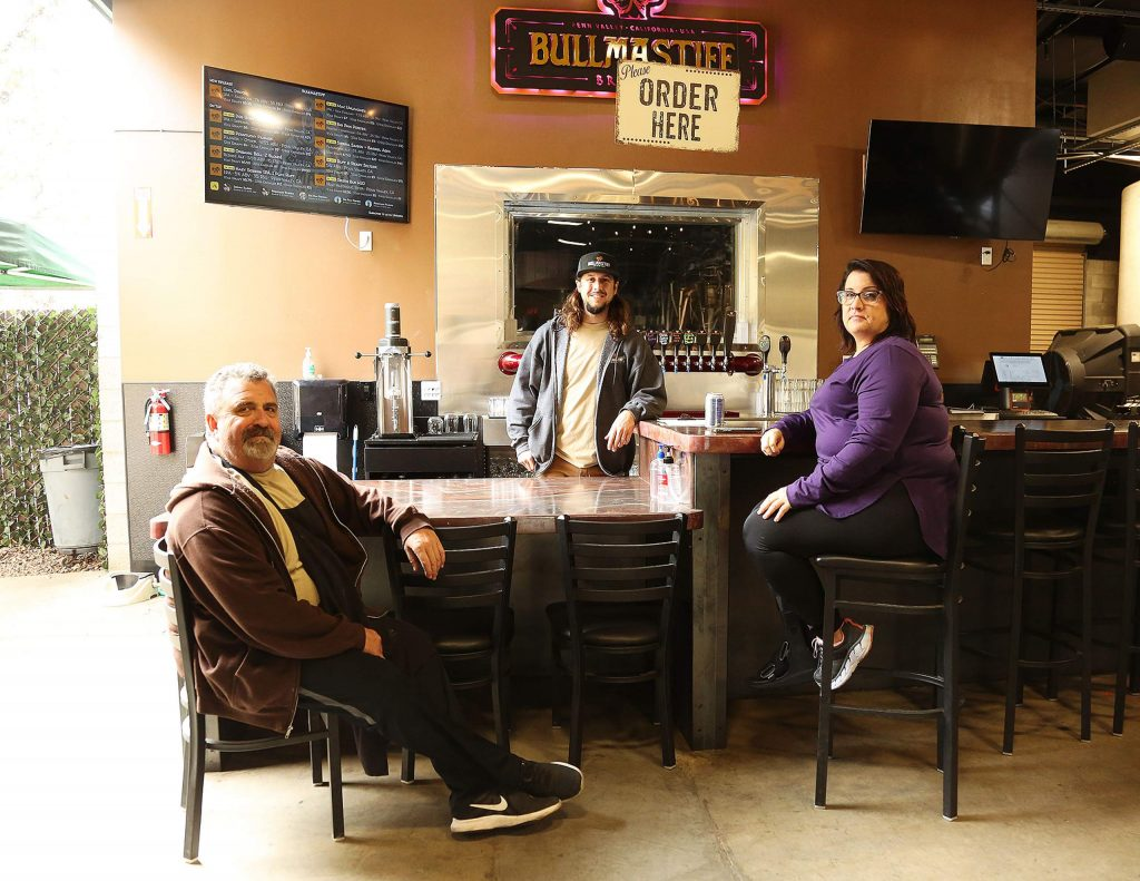 Dave Nelson, Scott Helmus, and Tina Harland sit at the bar of their new business venture, Bullmastiff Brewing based in Penn Valley. Nelson and Harland are co-owners while Helmus is the brewmaster.