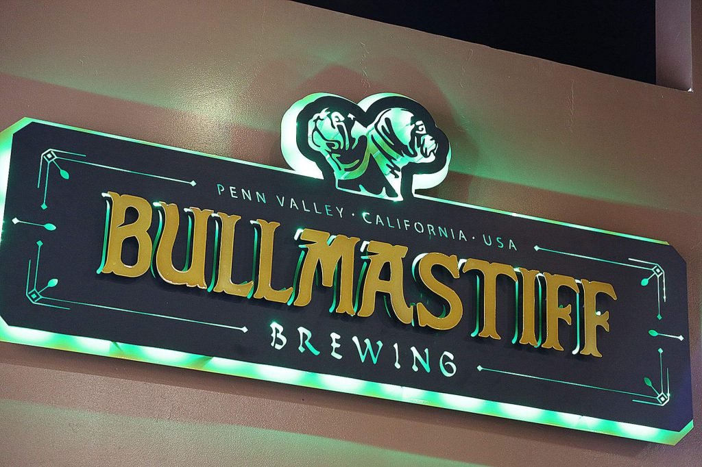 A custom design and labeling accompany the new Bullmastiff Brewing signage.