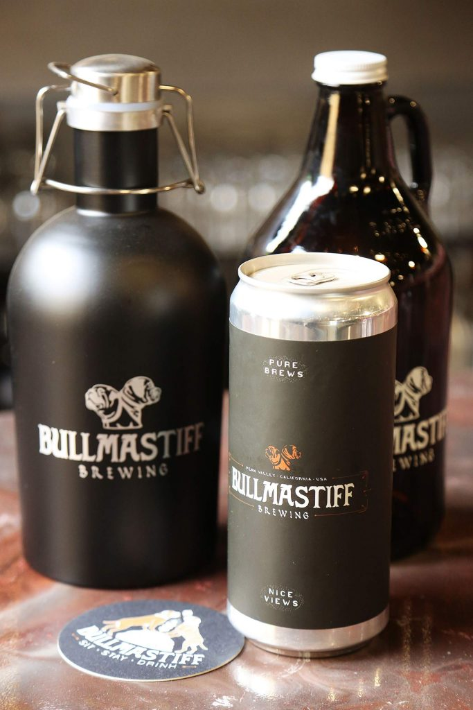 Growlers and tall cans are offered by Bullmastiff Brewing, now open in Penn Valley.