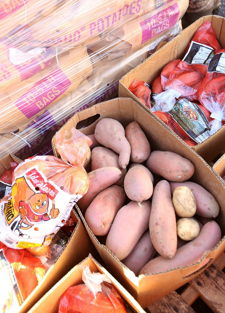 Potatoes, vegetables, dairy, and shelf stable foods were all included in Thursday's Food Bank of Nevada County drive-thru food distribution.
