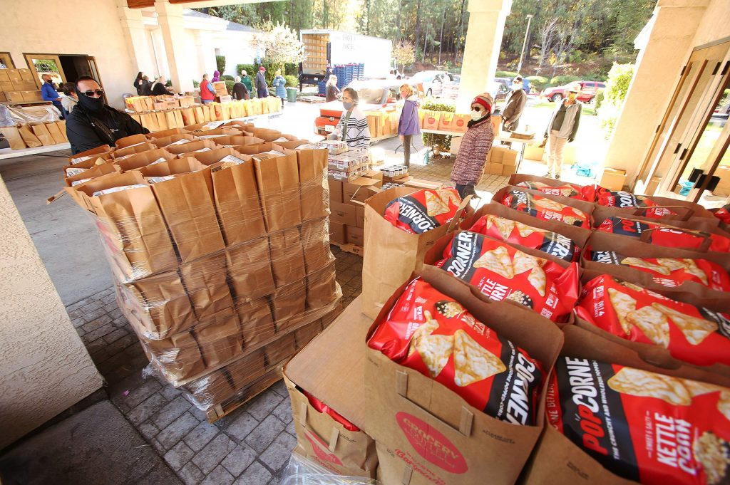 Pallets of pre-sorted foods are set for the weekly Food Bank of Nevada County drive-thru distribution at Grass Valley Seventh-day Adventist Church. There will not be a food distribution the week of Thanksgiving.