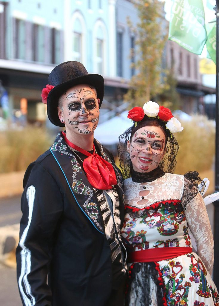 Jon Boyer and Sara Hernandez of Grass Valley didn't leave any details out of their Halloween outfits while visiting downtown Grass Valley Saturday evening.