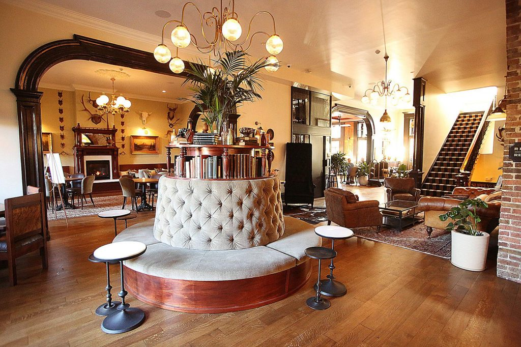 A custom made seating arrangement is one of the many personalized pieces of the Holbrooke Hotel, which will be open to the public Saturday. The Golden Gate will be open every day for breakfast and lunch 7 a.m. to 4 p.m., and dinner 5 to 10 p.m.