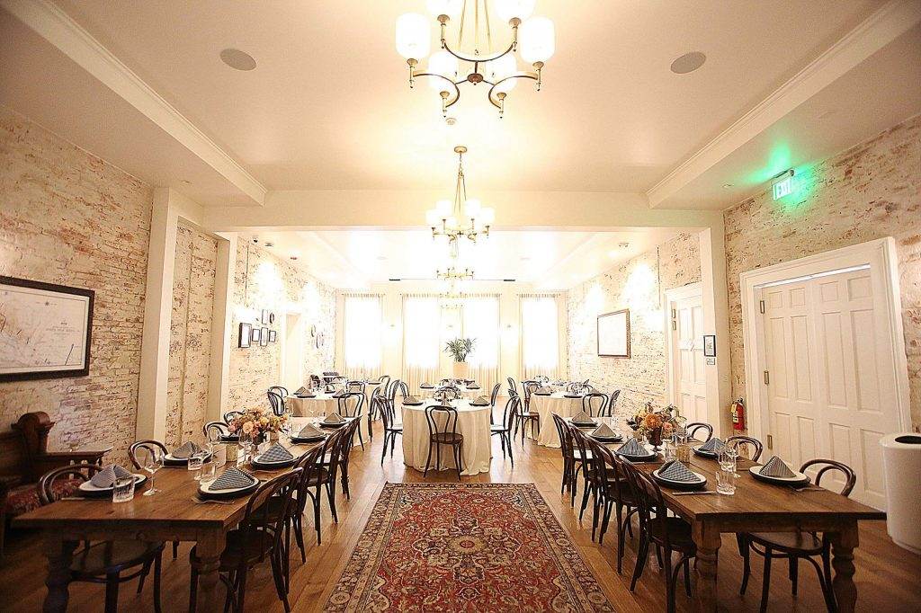The main dining hall is available for reservations and private parties. Events, including weddings, have already begun booking for 2021.