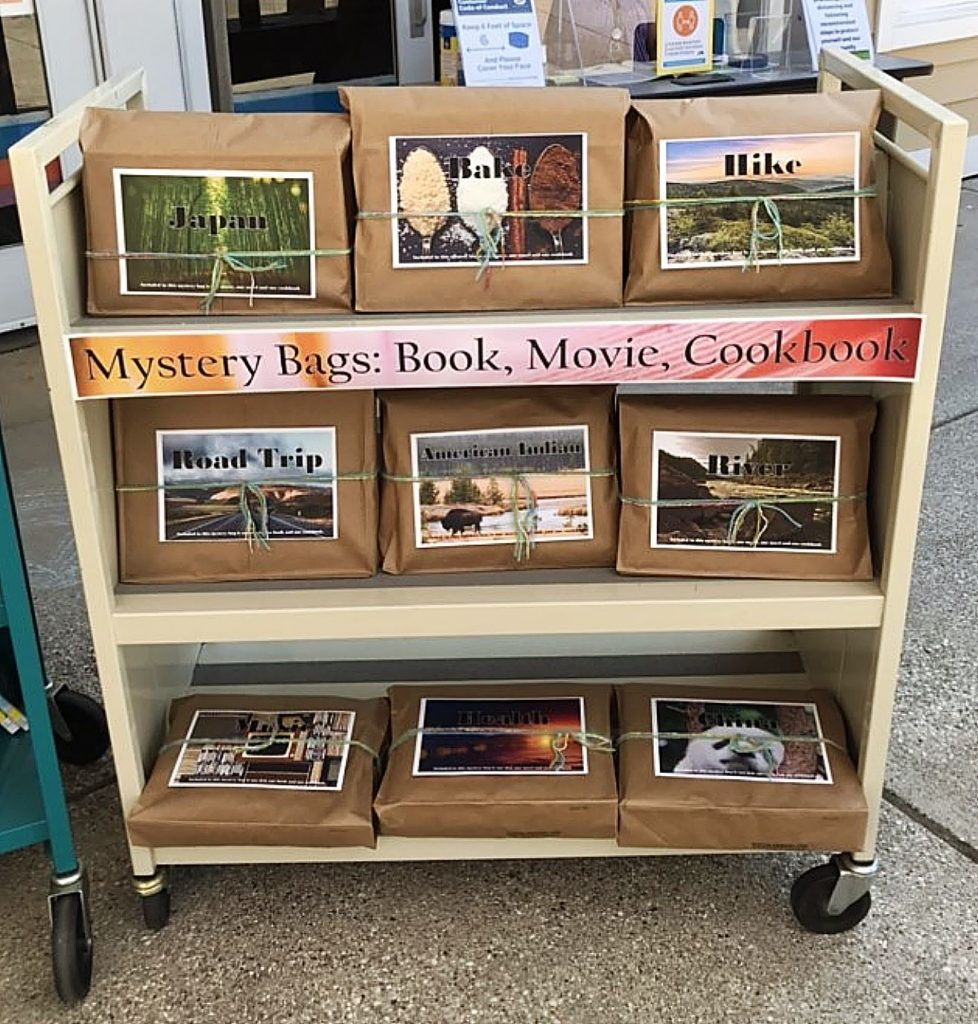 Nevada County's Madelyn Helling Library offers Mystery Bags that contain a cookbook, fiction or nonfiction book, and DVD movie all based on a festive literary theme.