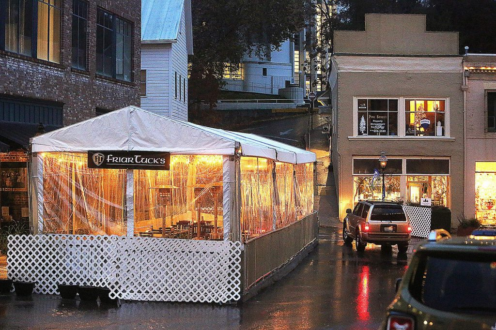 Friar Tuck's Restaurant & Bar in Nevada City is ready to serve people outdoors with the help of its all weather heated tent set up at the intersection of Pine and Commercial streets.