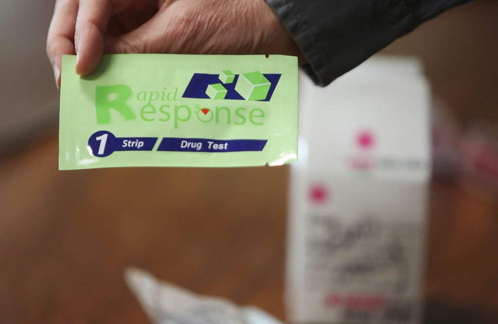A Rapid Response testing strip can be used to determine the presence of fentanyl.