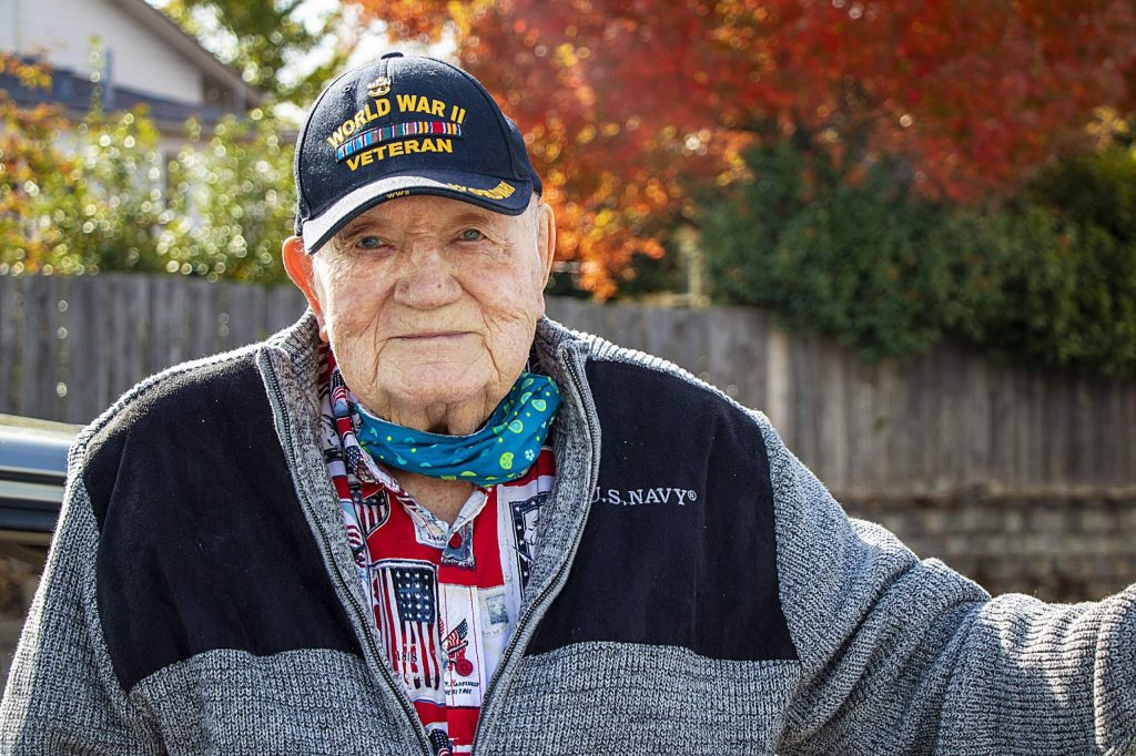 Merle Rasmus a Veteran of WWII, Korea, and Vietnam was one of many Veterans honored Wednesday at the Veterans drive-thru luncheon at the Grass Valley Veterans Building.