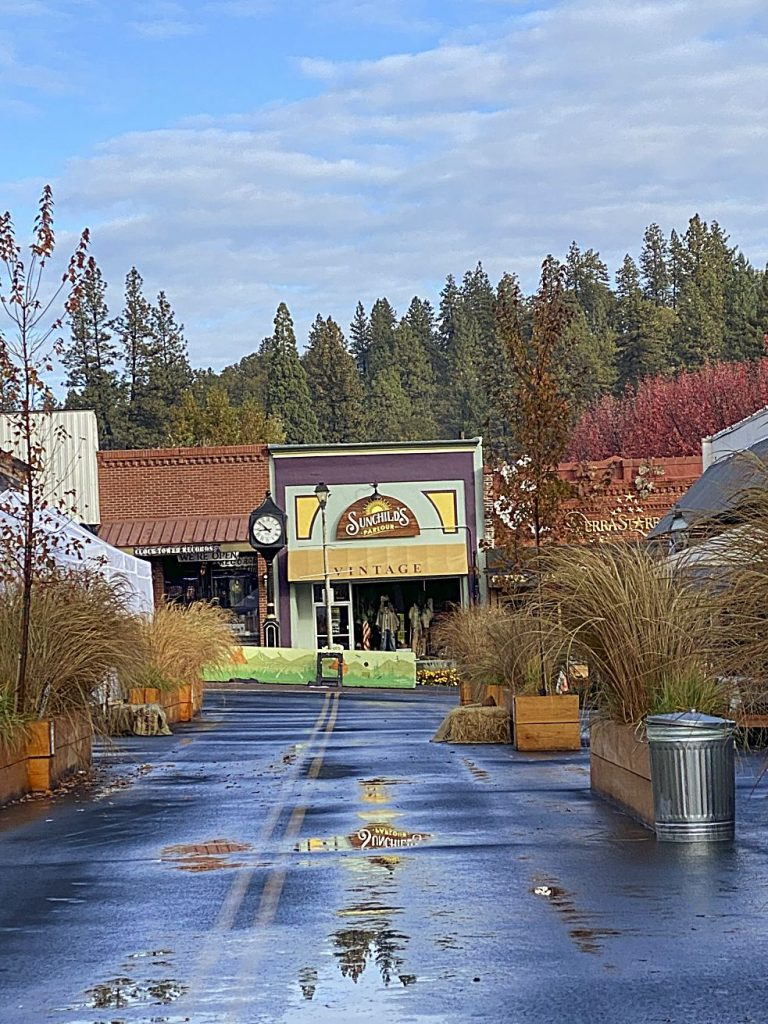 Morning after the rain on Main Street in Grass Valley. Wonderful to see puddles again!