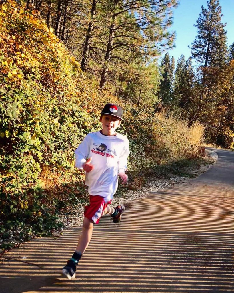 Toby Weitzel, finishing our virtual 5k for the MEB2 turkey trot on Wolf Creek Trail.