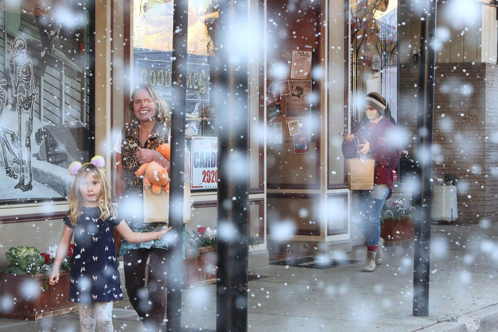 It's beginning to look a lot like Christmas in Grass Valley after Stucki Jewelers installed a pair of snow machines above the Mill Street store, helping to bring a little holiday cheer to the downtown shopping scene over the weekend.