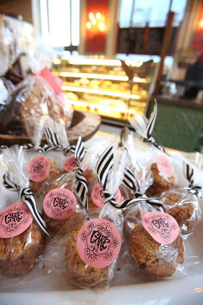 Treats from Cake Bakery, in the former Nevada County Bank building on Mill Street in Grass Valley, are ready for purchase.