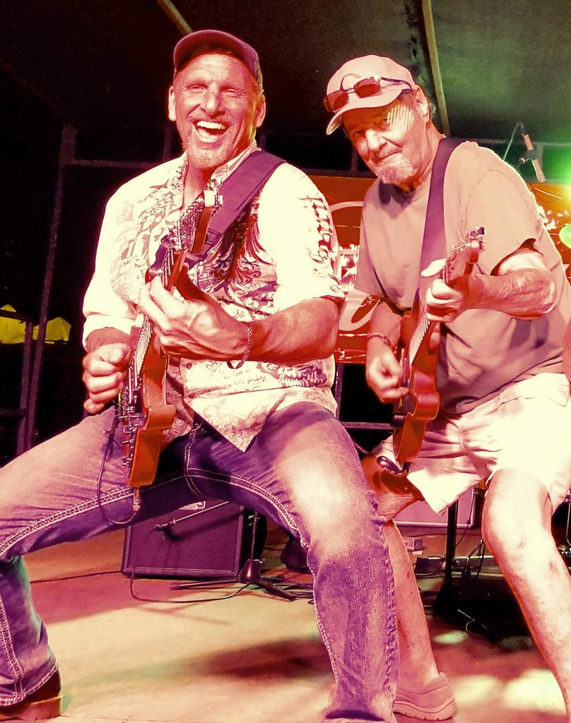 Jim Tucker, right, made guest appearances for many years and played guitar with the popular band Mogollon at the Nevada County Fair. Friend and fellow musician Guy Koplitz is on the left.