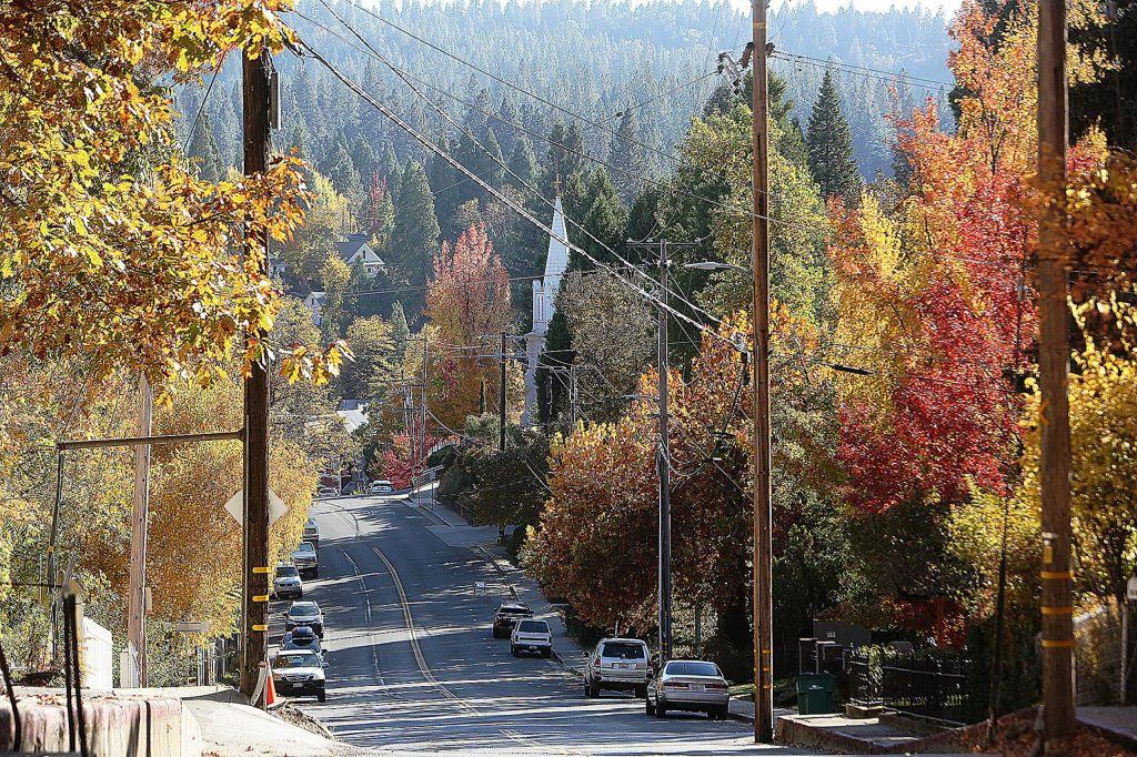 The leaves are in their full fall color display as seen along Coyote Street in Nevada City Tuesday.