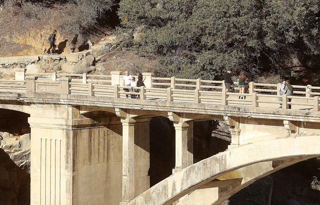 People took in the abundant sunshine over the weekend at the South Yuba River at the Highway 49 bridge.