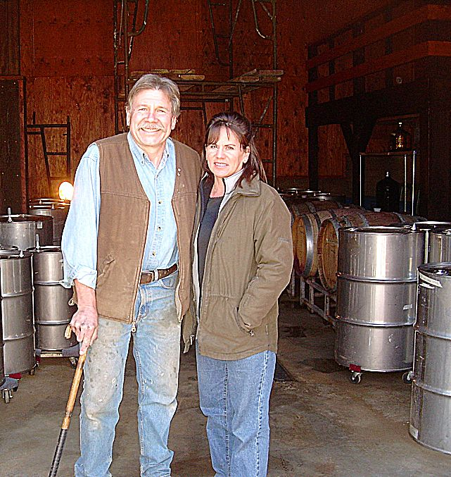 Henry Coufos and Janet Wheeling at Coufos Cellars.