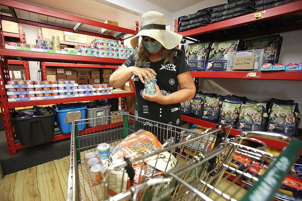 Grass Valley's Ginny Jones shops for her animals earlier this year at the Pet Food Giveaway at 139 Joerschke Drive in Grass Valley where local non-profit Pets In Need has recently opened a store where people can get supplies for their animals.