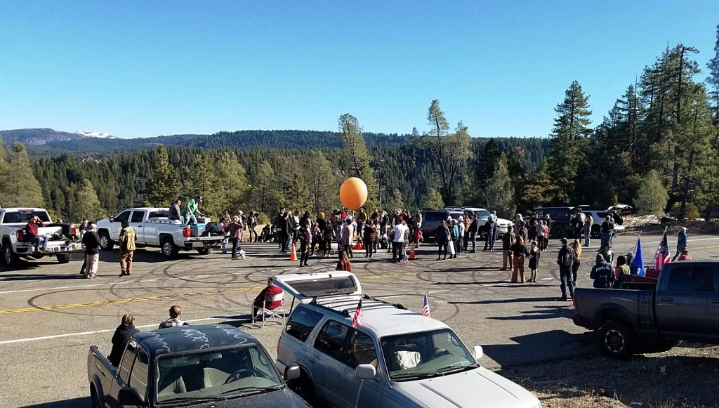 The annual Muppet Launch at a scenic overlook above the town of Washington draws a crowd every year.