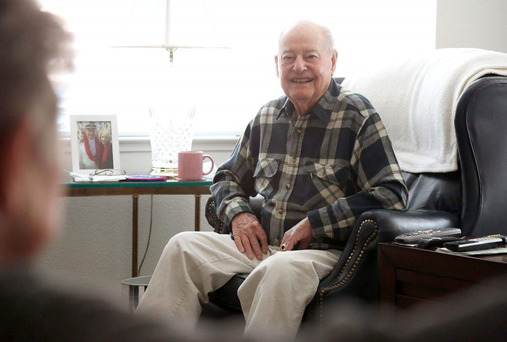 Louis Conter, one of two remaining USS Arizona survivors, sits in his Grass Valley home this week where he will be on Monday, the 79th anniversary of the bombing of Pearl Harbor and Pearl Harbor Remembrance Day.